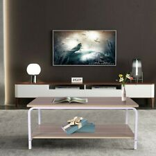 Modern Coffee Table End Sofa Side Table Furniture with 2-Tier Shelves Industrial