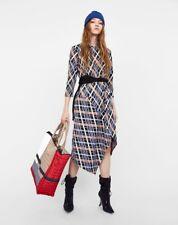 Zara Asymétrique Multi Couleur Jersey Checked Midi/longueur cheville robe taille S