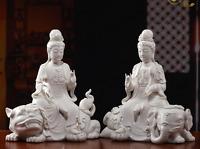 "11"" Dehua Porcelain Wenshu Manjushri Puxian Buddha Lion Elephant Pair Statue"