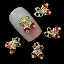 5 x Gold Alloy & Rhinestone Nail Art Christmas Bells Decorations FREE P&P (T4)
