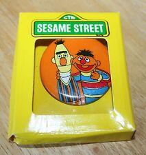 New Vintage Sesame Street Pin Button Bert Ernie Original Box Unused 70s Jewelry