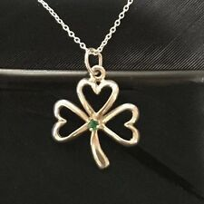 NICE VINTAGE ESTATE STERLING SILVER EMERALD LUCKY CLOVER IRISH PENDANT NECKLACE
