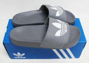 NIB ADIDAS ORIGINAL Men's Adilette Lite Gray White Sz 9 Slippers Slides Sandals