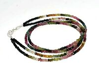 """Multi Tourmaline Gemstone 3-4 mm Rondelle Faceted Beaded 18"""" 2 Strand Necklace"""