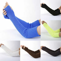 Womens Stretchy Long Sleeve Fingerless Gloves Warm Knitted Mittens Arm Warmers