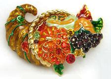 Thanksgiving Cornucopia Pin Brooch Rhinestone Enamel - Gift Box
