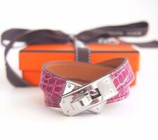 Authentic New HERMES Kelly Double Tour Fuschia 5J Pink Silver S Bracelet KDT