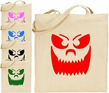 Big Teeth Smiley Pumpkin Face Halloween Large Cotton Tote Bag Scary Trick Treat