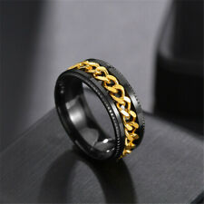 Titanium Steel Chain Anxiety Spinner Ring For Men and Woman