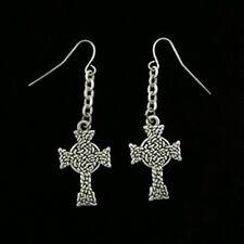 Celtic Knot Cross Pattern Dangling Earrings Pewter Jewelry J064