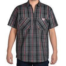 ORIGINAL BEN DAVIS HALF ZIP SLEEVE SHIRT PLAID BLACK/RED (Workwear since 1935)