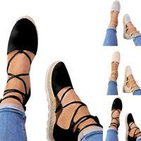 Womens Ladies Flat Wedge Espadrille Lace Tie up Sandals Platform Summer Shoes