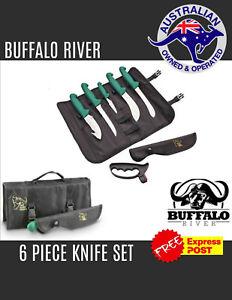 BUFFALO RIVER 6 PIECE KNIFE ROLL - DEER HUNTING BUTCHERING KIT - KNIFE ROLL