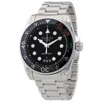 OROLOGIO UOMO GUCCI DIVE WATCH YA136208 ACCIAIO STEEL NERO BLACK SWISS 200m 45mm