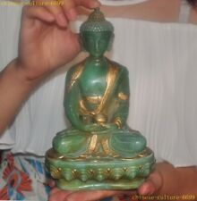 """9"""" Tibet Natural Old green Jade Gilt sakyamuni Shakyamuni Medicine Buddha statue"""