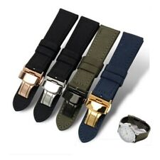 Watchband Canvas Leather Nylon Watch Strap Butterfly Buckle 18mm 20mm 22mm 24mm