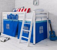 Cabin Bed Mid Sleeper Wooden Pine Blue Tent, 57WHITE