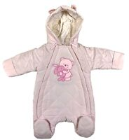Newborn, 0-3, 3-6 Months Girls Hooded Quilted All In One Baby Snowsuit Pram Suit