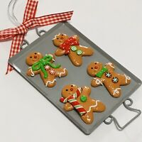 Gingerbread Man Cookies Baking Pan Kitchen Christmas Tree Ornament, Metal Pan