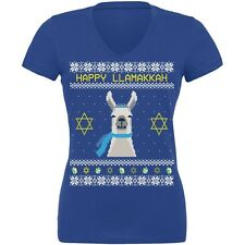 Llama Llamakkah Ugly Hanukkah Sweater Royal Juniors V-Neck T-Shirt