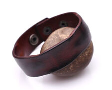 K75 Vintage Texture Simply Cool Men's Leather Bracelet Wristband Cuff BROWN