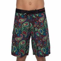 69Slam Cashmere Black Long Length Boardshorts - Size 38-  Beach Surf Swim Short