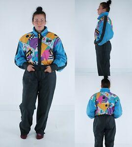 PROGRESS Vintage Womens Festival One Piece Ski Suit Snowsuit Snowboarding SIZE M