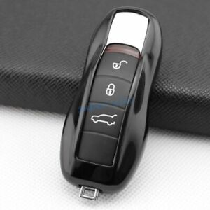For Porsche Cayenne Boxster Panamera 911 718 Black TPU Car Key Shell Cases Cover