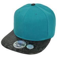 Blank Teal Solid Snake Skin Print Pleather Snapback Flat Bill Plain Hat Cap Faux