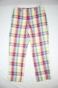 Ralph Lauren Golf Women's Linen Golf Capri Pants Multicolor Plaid Size 6
