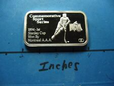ENGELHARD SPORT 1894 1ST STANLEY CUP WON BY MONTREAL 999 SILVER BAR RARE #B
