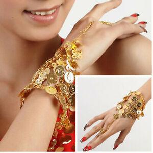 1pc Belly Dance Gold Coins Bangle Ring Wristband Hand Bracelet Accessories Hot