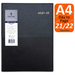 Collins Vanessa A4 Day To Page Financial Year 2021-2022 FY Diary Black DTP
