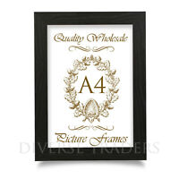 A4 Photo Frame Picture Frame Certificate Frame BLACK Colour FLAT Shape Moulding