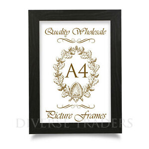 A4 Photo Frame Picture Frame Certificate Frame BLACK Colour FLAT Shape Moulding