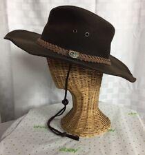 Statesmen Australia Down Under Brown Cowboy Hat With Strap Sz Med Cotton Oilskin