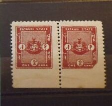 KGVI - Indian Feudal State of Pataudi - Block of 2 x 1a Revenue stamps - MNH