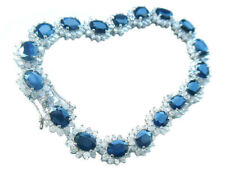 19.15ct Sapphire & Diamond Bracelet in 14K White Gold