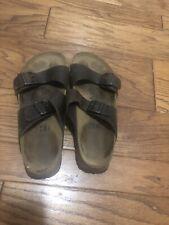 BIRKI'S By Birkenstock 2 Strap Brown Leather  Slide Sandals Men's 44 US 11