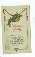 Antique 1912 Embossed Christmas post card Art Deco Style Basket of Holly Ivy