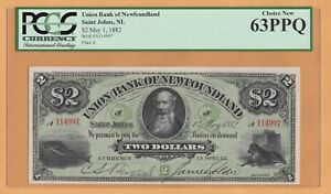 Union Bank of Newfoundland $2 1882 PCGS-63 PPQ CHARLTON #750-16-02 Banknote