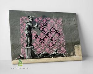 BANKSY Pink Refugee Graffiti Canvas Art Wall Art Print Picture Photo Canvas-C835