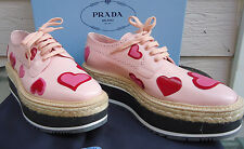 NEW $1250 Prada Heart 40.5 9.5 Platform Espadrille Brogues Leather Pink Red Lace