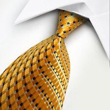 UK1001 Gold Black White Stripe New Silk Classic JACQUARD Woven Men's Tie Necktie