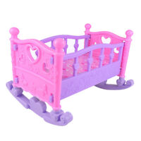 Baby Doll Rocking Bed Toy Crib Infant Carriage Gift Role Play Game Age 3+