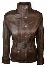 Ladies Women Real Leather Military Chinese Collar Slim Fit Brown Jacket NEW