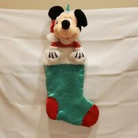 """Disney Store Mickey Mouse Christmas Stocking 23"""" Red Green Santa Hat Child Gift"""