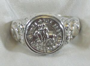 Ring Siegelring Tempelritter 925 Silber Ring Sterling Silver Templar Ring