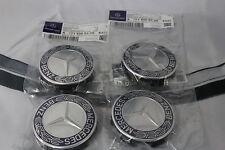 Genuine Mercedes-Benz Set of X4 Blue Emblem Alloy Wheel Hub Cap / Centre Caps