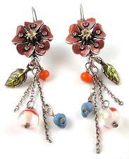 £30 Silver Red Green Blue Flower Tassel Drop Earrings Swarovski Elements Crystal